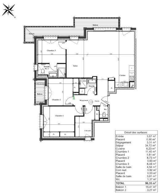 APPARTEMENT T5 DE 96 m2, CHAMONIX LES PRAZ